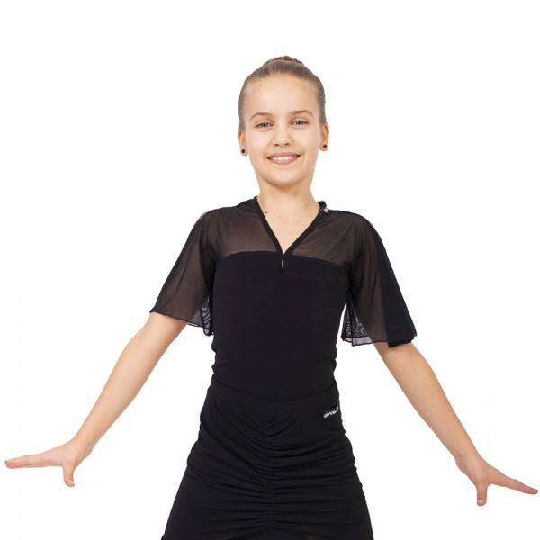 Dívčí top s volánkovým krátkým rukávem